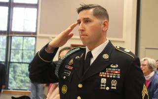 SSJT Jeremy Armstrong salutes during the Pledge of Allegiance.  WILLIAM F. GALVIN PHOTO  (photo: William F. Galvin)