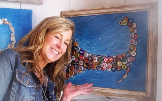 Karen Seidewand's mixed media Capescapes include this one featuring beer bottle caps.  ED MARONEY PHOTO  (photo: Ed Maroney)