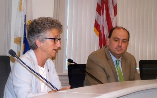 State Rep. Sarah Peake spoke in favor of taxing short-term rentals as state Sen. Jamie Eldridge listens during a public hearing June 10 at Barnstable Town Hall. ED MARONEY PHOTO  (photo: Ed Maroney)