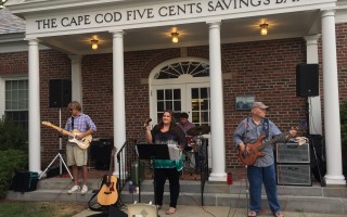 "The Catie Flynn Band plays in front of the Cape Cod Five Cents Savings Bank as part of the ""Port Summer Nights"" series last summer. COURTESY PHOTO 