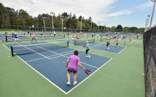 The courts at Brooks Park in Harwich were hopping during the first Women's Intermediate Pickleball Tournament on June 21, an event players hope to make annual. Kat Szmit Photo  (photo: )