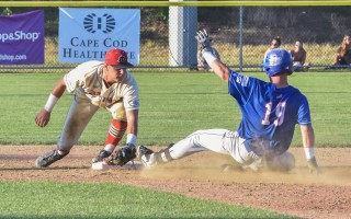 Chatham's Jake Olson (19) attempts to slide into second ahead of the tag but Harwich second baseman Max Burt proves quicker. Kat Szmit Photo  (photo: )