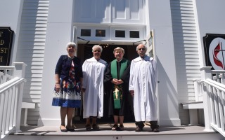Former Pastor Nancy Bischoff, Lynn Long, Pastor Barbara Kszystyniak and Alan Kuzirian stand at the newly renovated entrance to the Chatham United Methodist Church following a rededication ceremony Sunday. TIM WOOD PHOTO  (photo: Tim Wood)