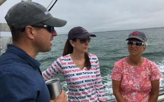 Massachusetts  Department of Energy and Environmental Affairs Secretary Matthew Beaton, left, got a tour of the disputed Monomoy National Wildlife Refuge western boundary last Friday. Also on the voyage was Town Manager Jill Goldsmith, center, and State Representative Sarah Peake; not shown are fellow passengers Daniel Sieger, assistant secretary of energy and environmental affairs and Selectmen Shareen Davis and Jeffrey Dykens. SHAREEN DAVIS PHOTO   (photo: )