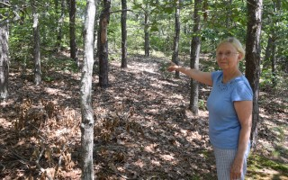 Liana Johnson shows the slope leading up to the proposed Hunter's Rise subdivision where she and other residents of Ocean Port Lane would like to see trees retained. TIM WOOD PHOTO  (photo: )