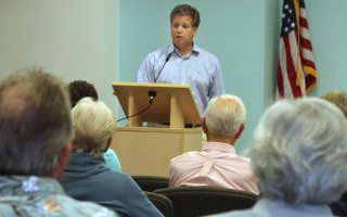 Andrew Gottleib, executive director of the Association to Preserve Cape Cod, spoke at the annual meeting of the Friends of Chatham Waterways. ALAN POLLOCK PHOTO  (photo: Alan Pollock)