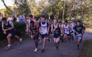 Monomoy cross country had its first home meet on Tuesday, a spirited match between the Sharks and the Nantucket Whalers, with the Nantucket boys earning the win, and the Monomoy girls running to victory. KAT SZMIT PHOTO 