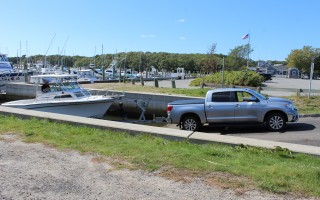The Saquatucket Harbor boat ramp will be a busy place this weekend as all boats have to be out of the harbor by Oct. 15 to make room for the dock reconstruction project. WILLIAM F. GALVIN PHOTO  (photo: William F. Galvin)