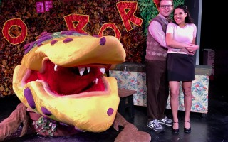 "Matt Kohler and Isabelle Archer with Audrey II in ""Little Shop of Horrors."" ABBY FEINSTEIN PHOTO 