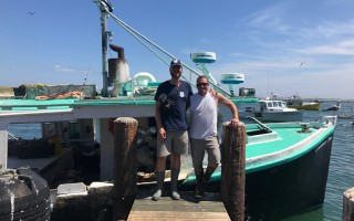 Stone Dow, left, took his first voyage at the Cape Cod Commercial Fishermen's Alliance artist in residence aboard the Constance Sea with Captain Greg Connors. COURTESY PHOTO  (photo: )