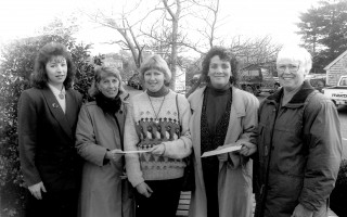Angel Fund Event in 1990. Nancy Taylor of the Cape Cod Five Cents Savings Bank; Virginia Nickerson of The Children's Shop, who proposed the idea of the Angel Fund; Pat Vreeland, representing the Teachers' Fund; MCS director Theresa Malone; and merchants' association president Marge Long. FILE PHOTO.    (photo: )