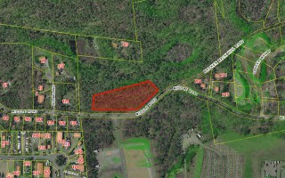 This 96,608-square-foot parcel along Middle Road outlined above, located north of the wastewater treatment plant and the transfer station, was identified as the best town-owned land to build a new senior center. Selectmen decided last week to also explore the availability of privately owned land for a new COA home. COURTESY TOWN OF CHATHAM  (photo: )