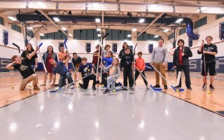 Members of the Monomoy-Mashpee Monarchs hockey team are joined by future hockey players in their Nov. 16 floor hockey night, held to get kids interested in the sport and learn more about the Monarchs. Kat Szmit Photo  (photo: )