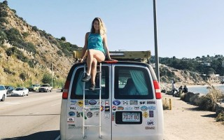 Chilling on the Pacific Coast Highway in Malibu. The cargo van was well on its way to covering the rear doors with travel stickers.  COURTESY PHOTO  (photo: Courtesy Alexis Comeau)