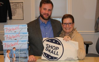 "Cape and Islands Senator Julian Cyr, D –Truro, and Chamber of Commerce Executive Director Cyndi Williams encourage Cape residents to shop local and ""Shop Small."" Cyr will bring a task force to Harwich on Monday seeking ways to create a level playing field between local retail stores and online businesses. WILLIAM F. GALVIN PHOTO  (photo: )"