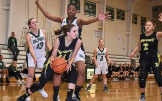 Nauset's Francesca Gonnella (10) works the ball around D-Y's Kim Murry (11), while teammate Sunny Green (2) lends support.  KAT SZMIT PHOTO  (photo: Kat Szmit)