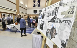 A collage reflecting JFK's time in office was one of many collaborative projects on display during a special art reception at Monomoy High on Jan. 25. Kat Szmit Photo  (photo: )