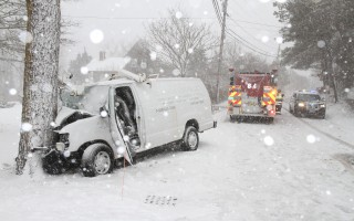 The driver of a plumbing van sustained serious injuries after his vehicle skidded on snowy Forest Street in Harwich Center Tuesday morning, colliding with a tree. Firefighters had to extricate the man from the wreck, and rushed him to Cape Cod Hospital for treatment. The driver's identity and condition were not immediately available. ALAN POLLOCK PHOTO 