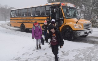 Monomoy Middle School students brace against the wind Tuesday morning. TIM WOOD PHOTO  (photo: )