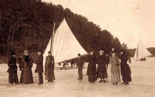 Ice boating on Long Pond, Harwich. Artist Charles Cahoon is the third from the left. COURTESY HARWICH HISTORICAL SOCIETY  (photo: )