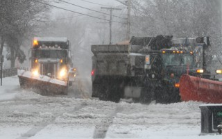 A gang of snow plows marches through Harwich Center.  ALAN POLLOCK PHOTO  (photo: Alan Pollock)