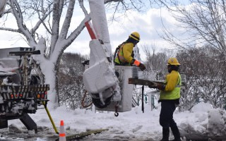 A utility crew repairs power lines on Depot Road in Chatham last Wednesday. TIM WOOD PHOTO  (photo: )