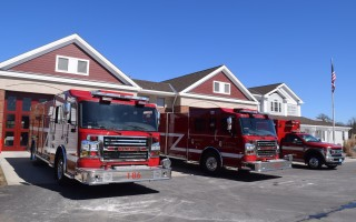 The Chatham Fire Department's two new pumpers and its new ambulance in front of the Depot Road Station Monday. TIM WOOD PHOTO 