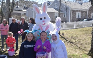 A family portrait? From left, Addy Goley, Grace Whitney and Regan Murdoch pose with the Easter Bunny. TIM WOOD PHOTO  (photo: )