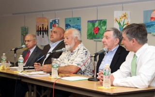 Candidates for selectmen are (from left) Dean Nicastro, Jamie Bassett, Seth Taylor, Peter Cocolis and Cory Metters. ALAN POLLOCK PHOTO  (photo: Alan Pollock)