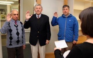 Town Clerk Julie Smith swore in three members of the board of selectmen on Friday. Taking the oath were (from left) Dean Nicastro, Peter Cocolis and Cory Metters. In their first official act, selectmen elected Nicastro as the board's chairman, with Metters to serve as vice chair and Cocolis becoming clerk. ALAN POLLOCK PHOTO  (photo: Alan Pollock)