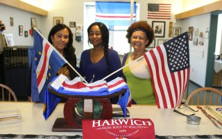 Leslie Gomes Preston and Lisa Preston join with Cape Verdean Museum President/Curator Barbara Burgo at the museum in the Harwich Cultural Center, which is scheduled to open on Friday. WILLIAM F. GALVIN PHOTO  (photo: William F. Galvin)