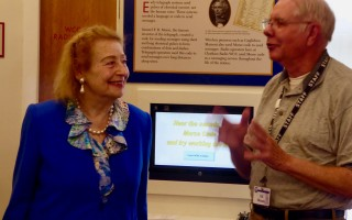 Princess Elettra Marconi talks with Ed Moxon during her visit to the Chatham Marconi Maritime Center last week. ELIZABETH VAN WYE PHOTO  (photo: Elizabeth Van Wye)