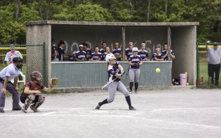 As her team cheers behind her, Monomoy's Julie Slade keeps her eye on the incoming pitch during the Div. 3 quarterfinals against Case on June 10. Kat Szmit Photo  (photo: Kat Szmit)