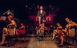 "Olivia Graceffa as Sally Bowles (center) with the Kit Kat Girls in The Academy of Performing Arts' production of ""Cabaret."" MICHAEL AND SUSAN KARCHMER PHOTO 
