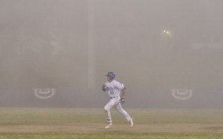 Spencer Torkelson (20), in one of his last outings with the Chatham Anglers before joining Team USA, runs to second during game play against Hyannis as the fog that ultimately ended the game rolls in across Veterans Field. Kat Szmit Photo  (photo: )