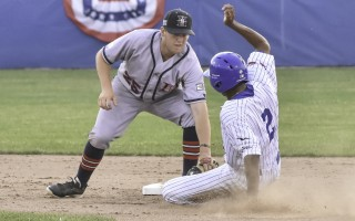 Harwich second baseman Nate Eikhoff (25) puts the tag on Chatham's Greg Jones (2) as Jones drops into a slide during game play June 30 at Veterans Field. Kat Szmit Photo  (photo: )
