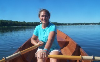 Jan Biondi is at home on Town Cove in a rowing craft she built herself.  ED MARONEY PHOTO  (photo: Ed Maroney)