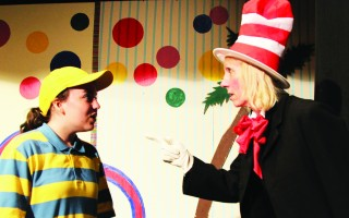 "The Cat in the Hat (Pam Banas) makes a point to Jojo (Alexis Arruda) in the Chatham Drama Guild's production of ""Seussical the Musical.""  (photo: Courtesy photo)"