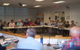 Selectmen, the board of health, and the finance committee joined members of the Orleans Water Quality Advisory Panel for a wide-ranging discussion July 11.  ED MARONEY PHOTO  (photo: Ed Maroney)