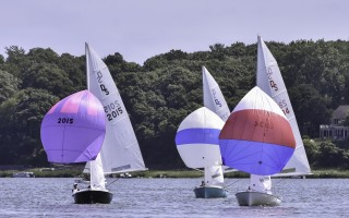 The Coleman sisters with sail 2015 lead the way as Ted Dickson and Meredith Dart (2834) and Mike McCaffrey and Suzanne Boohar (3797) follow along in the hopes of catching up.  KAT SZMIT PHOTO  (photo: Kat Szmit)