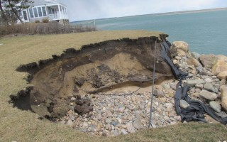 A 120-by-50-foot section of revetment on Gerald Milden's property failed in March. He claims dredging in Aunt Lydia's Cove in April 2017 changed tidal currents in the area and led to undermining of the wall. COURTESY PHOTO  (photo: )