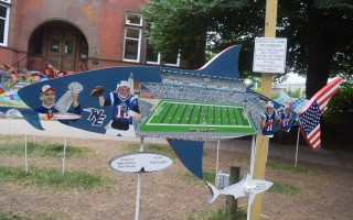 As of early this week, Pati DuVall's New England Patriots-themed Shark in the Park had the highest bid in the history of the exhibit. Bidding ends Friday at noon. TIM WOOD PHOTO  (photo: )