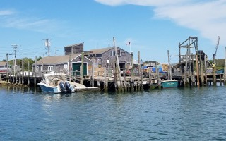 The town-owned trap dock (center) is flanked by the dock owned by Stage Harbor Yacht Club (left) and Old Mill Boat Yard, where the town harbormaster's office is located (out of view, on right). COURTESY FRANK MESSINA  (photo: Frank Messina)