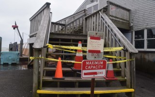 The popular observation deck at the Chatham Fish Pier was closed Monday after a support post was damaged by a fork lift. TIM WOOD PHOTO  (photo: )