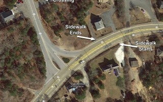 This map shows where the sidewalk on the north side of Route 28 ends just short of the intersection with Route 28, and continues on the south side. Members of the South Chatham Village Association are asking that a crosswalk and signal be installed to improve pedestrian safety. Map data ©2018 Google  (photo: )