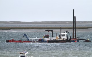 The Barnstable County dredge off Fox Hill late last year. FILE PHOTO  (photo: Alan Pollock)