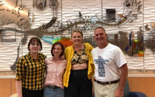 Sarah, Lindsey and Kaitlyn (pictured with Principal Burkhead) were the first students to ever present to our teachers during their professional learning day on Aug. 30. The topic was