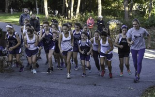 Caroline Davock, Margo Dery, and Francesca Marchesi set out on the nearly three-mile Monomoy cross-country course in their Oct. 8 meet against Rising Tide and Riverview, with the Sharks posting 11 personal bests in the event between the girls and boys teams. Kat Szmit Photo  (photo: )