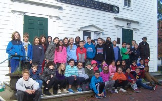 Orleans Elementary School fifth graders gather on the Meetinghouse steps for a group picture. ED MARONEY PHOTO 