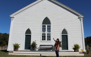Friends of the South Harwich Meeting House Inc. President Judith Ford takes a breather outside the historic building. WILLIAM F. GALVIN PHOTO  (photo: )